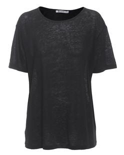 T BY ALEXANDER WANG Linen Silk Jersey Oversize Black