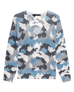 360 CASHMERE Theo V-Neck Camouflage Blue