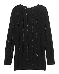 T BY ALEXANDER WANG Long Knit Destroyed Black
