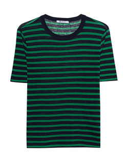 T BY ALEXANDER WANG Cropped Stripe Linen Tee Green
