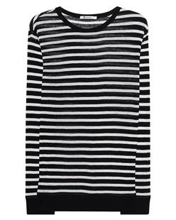 T BY ALEXANDER WANG Stripe Linen Long Tee Black