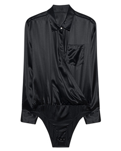 T BY ALEXANDER WANG Silk Wrap Shirt Bodysuit Black