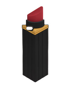 LULU GUINNESS Phone Lipstick Red Black