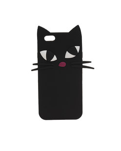 LULU GUINNESS Kooky Cat Phone Black