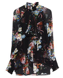 ERDEM Isabelle Flower Silk Black