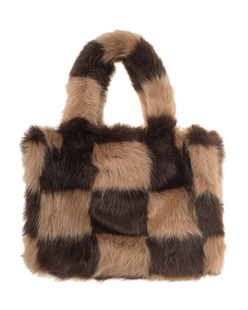 STAND STUDIO Liz Check Faux Fur Beige Brown
