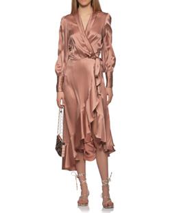 ZIMMERMANN Silk Wrap Dress Nude