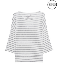 JUVIA Fleece Stripe Sweater Grey Melange