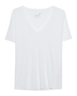 JUVIA Basic V-Neck Shirt White