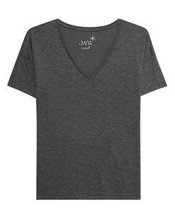 JUVIA Basic V-Neck Shirt Anthracite