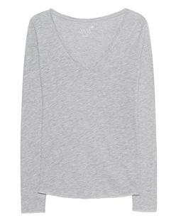 JUVIA V-Neck Basic Open Seam Light Grey