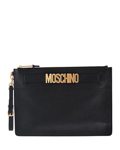 MOSCHINO Logo Pochette Gold Black