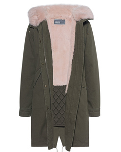 YVES SALOMON Parka Hunter Green Peach Pearl