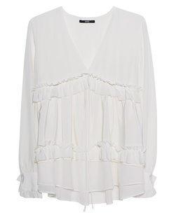 SLY 010 Ruffle V Neck White