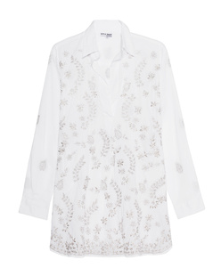 JULIET DUNN Embroidered White Silver