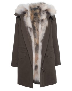 YVES SALOMON Luxe Fabric Fox Army Green