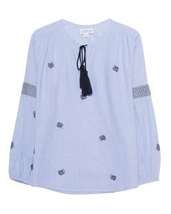 VELVET BY GRAHAM & SPENCER Stripe Tassel Embroidery Blue