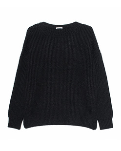 GREY MARL  Knitted Crew Black