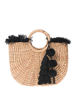 JADETRIBE Straw Pom Pom Black