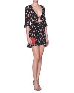 FOR LOVE AND LEMONS Cherry Sundress Black