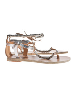 Ancient Greek Sandals Chrysso Cracked Silver