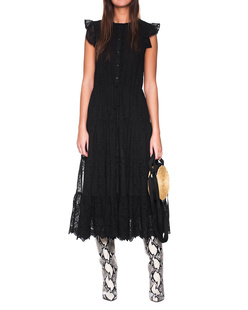 JADICTED Long Embroidery Dress Black