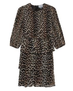 Ganni Plissée Volants Leopard