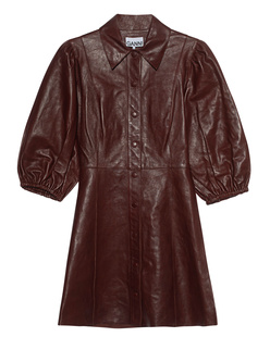 Ganni Leather Puffed Sleeve Chocolate
