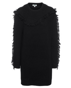 KENZO Wool Fringe Vestito Black