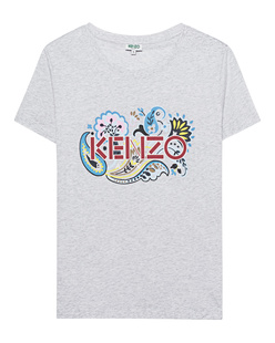 KENZO Flower Label Print Light Grey