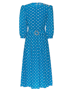 Alessandra Rich Polka Dot Crystal Buttons Blue
