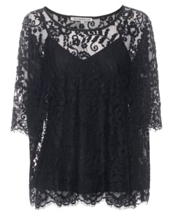 FALCON & BLOOM Dropped Shoulder Floral Lace Black