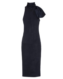 CUSHNIE ET OCHS Stretch Suede Duchess Satin Collar Navy