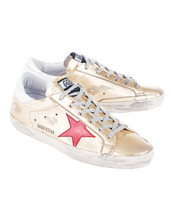 GOLDEN GOOSE DELUXE BRAND Superstar Gold/Red And Blue Star
