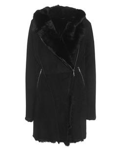 GIORGIO BRATO Lamb Fur Hood Black