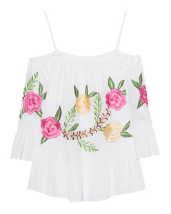 JADICTED Off-Shoulder Multi Flower White