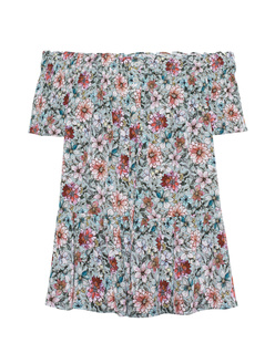 JADICTED Off Shoulder Flower Mint