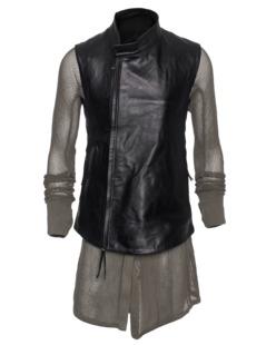 BORIS BIDJAN SABERI Leather Mesh Black