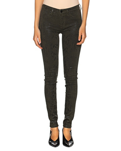 7 FOR ALL MANKIND The Skinny Coated Snakeskin Oliv