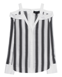 Kendall + Kylie Off Shoulder Stripes Grey