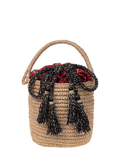 ALANUI Raffia Mini Bucket Bandana Red Beige