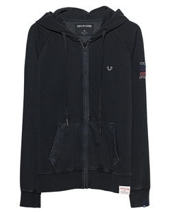 TRUE RELIGION Hooded Zipper Black