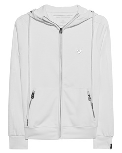 TRUE RELIGION Hoodie Zip Stripe Off-White