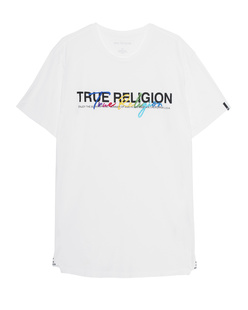 TRUE RELIGION Crewneck Colorful Stitching White