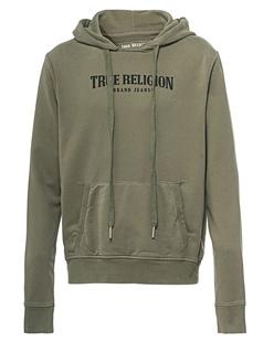 TRUE RELIGION Hood Logo Oliv