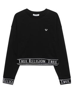 TRUE RELIGION Madison Tape Trim Logo Black