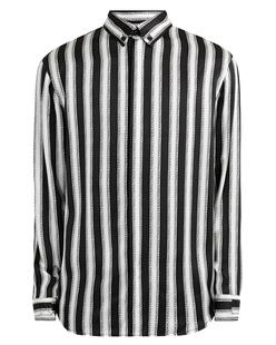 JACOB LEE Oversize Striped Fuck Off Shirt Black