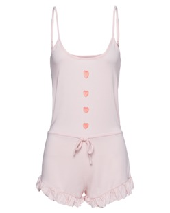 WILDFOX Romper Heart Buttons Pink