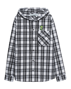 OFF-WHITE C/O VIRGIL ABLOH Check Shirt Hood Black White