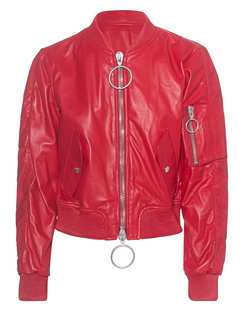OFF-WHITE C/O VIRGIL ABLOH Baggy Leather Bomber Red